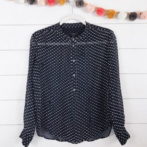 J. Crew • Silk Navy Embroidered Henley Blouse